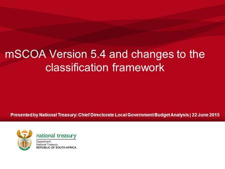 mSCOA Version 5.4 and changes to the classification framework
