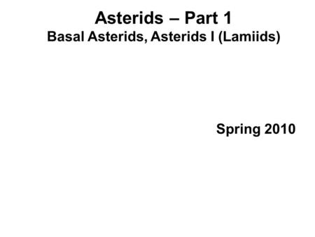 Asterids – Part 1 Basal Asterids, Asterids I (Lamiids) Spring 2010.