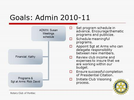 Rotary Club of Pontiac Goals: Admin 2010-11  Set program schedule in advance. Encourage thematic programs and publicize.  Schedule meaningful programs.