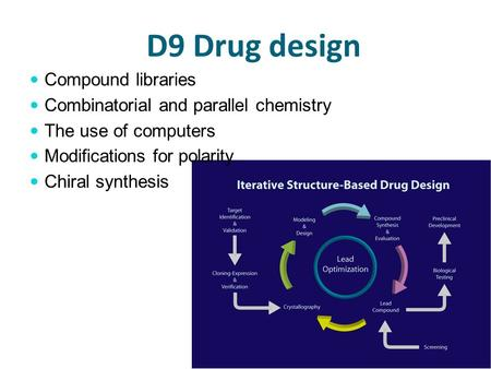 D9 Drug design Compound libraries Combinatorial and parallel chemistry