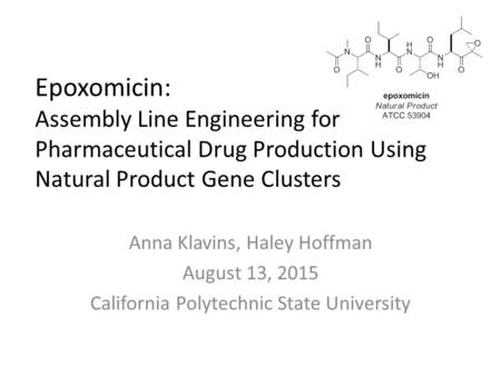 Epoxomicin: Assembly Line Engineering for Pharmaceutical Drug Production Using Natural Product Gene Clusters Anna Klavins, Haley Hoffman August 13, 2015.