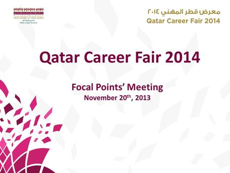 Qatar Career Fair 2014 Focal Points' Meeting November 20 th, 2013.