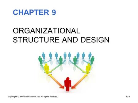 CHAPTER 9 ORGANIZATIONAL STRUCTURE AND DESIGN Copyright © 2005 Prentice Hall, Inc. All rights reserved.10–1.