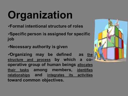 Organization Formal intentional structure of roles Specific person is assigned for specific job Necessary authority is given Organizing may be defined.