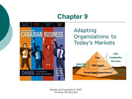Nickels 6e/Copyright © 2007 McGraw-Hill Ryerson Chapter 9 Adapting Organizations to Today's Markets.
