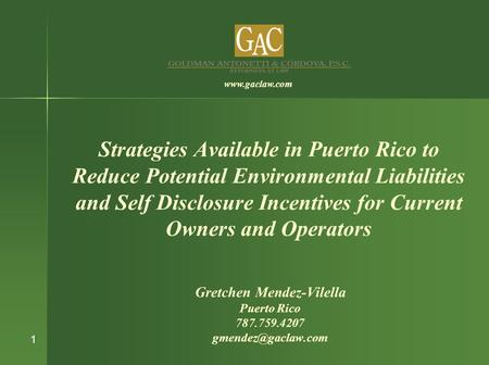 Strategies Available in Puerto Rico to Reduce Potential Environmental Liabilities and Self Disclosure Incentives for Current Owners and Operators Gretchen.