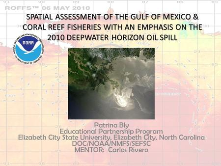 SPATIAL ASSESSMENT OF THE GULF OF MEXICO & CORAL REEF FISHERIES WITH AN EMPHASIS ON THE 2010 DEEPWATER HORIZON OIL SPILL Patrina Bly Educational Partnership.