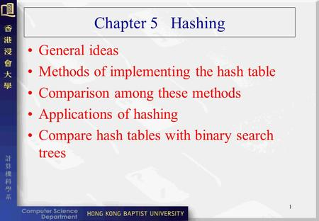 1 Chapter 5 Hashing General ideas Methods of implementing the hash table Comparison among these methods Applications of hashing Compare hash tables with.