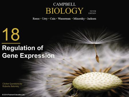 CAMPBELL BIOLOGY Reece Urry Cain Wasserman Minorsky Jackson © 2014 Pearson Education, Inc. TENTH EDITION Clicker Questions by Roberta Batorsky 18 Regulation.