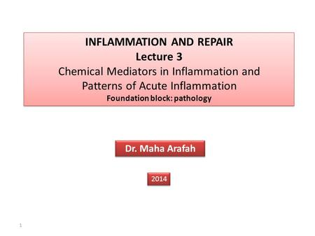 1 INFLAMMATION AND REPAIR Lecture 3 Chemical Mediators in Inflammation and Patterns of Acute Inflammation Foundation block: pathology INFLAMMATION AND.