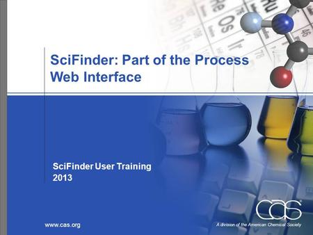 Www.cas.org A division of the American Chemical Society SciFinder: Part of the Process Web Interface SciFinder User Training 2013.