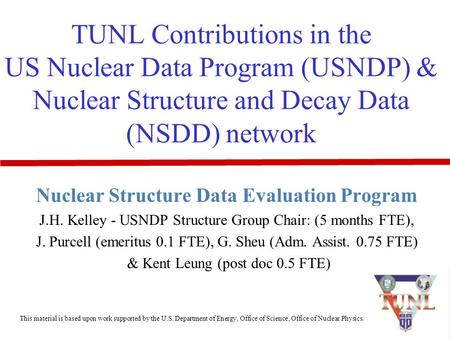 TUNL Contributions in the US Nuclear Data Program (USNDP) & Nuclear Structure and Decay Data (NSDD) network Nuclear Structure Data Evaluation Program J.H.