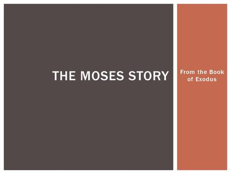 "From the Book of Exodus THE MOSES STORY.  The Prince of Egypt refers to the Exodus story from the Bible  The word ""Exodus"" means ""to exit""  This is."