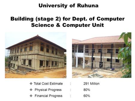 Building (stage 2) for Dept. of Computer Science & Computer Unit  Total Cost Estimate :291 Million  Physical Progress: 80%  Financial Progress:60% University.