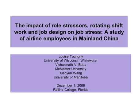 The impact of role stressors, rotating shift work and job design on job stress: A study of airline employees in Mainland China Louise Tourigny University.