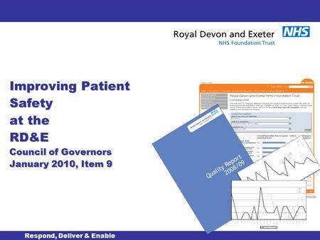 Improving Patient Safety at the RD&E Council of Governors January 2010, Item 9 Respond, Deliver & Enable.