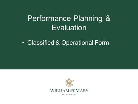 Performance Planning & Evaluation Classified & Operational Form.