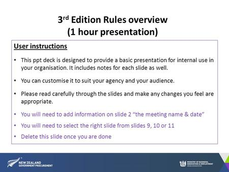 User instructions This ppt deck is designed to provide a basic presentation for internal use in your organisation. It includes notes for each slide as.