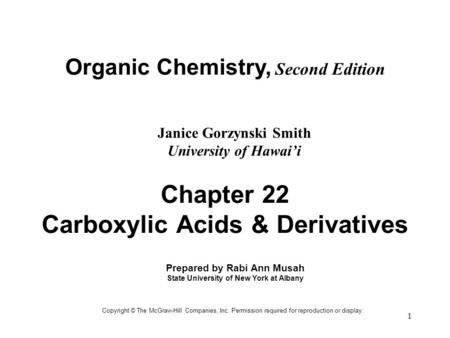 Chapter 22 Carboxylic Acids & Derivatives