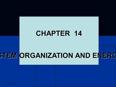 10/5/2015 CHAPTER 14 ECOSYSTEM ORGANIZATION AND ENERGY FLOW.