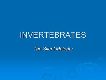 INVERTEBRATES The Silent Majority.