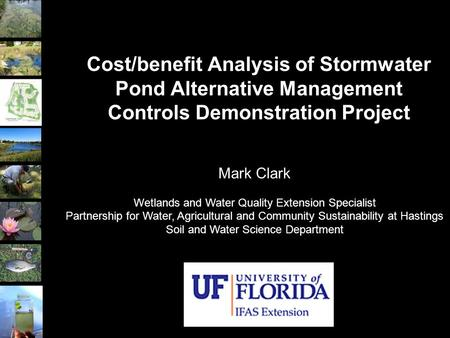 Cost/benefit Analysis of Stormwater Pond Alternative Management Controls Demonstration Project Mark Clark Wetlands and Water Quality Extension Specialist.