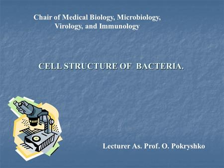 Chair of Medical Biology, Microbiology, Virology, and Immunology CELL STRUCTURE OF BACTERIA. Lecturer As. Prof. O. Pokryshko.