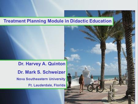 Treatment Planning Module in Didactic Education Dr. Harvey A. Quinton Dr. Mark S. Schweizer Nova Southeastern University Ft. Lauderdale, Florida.
