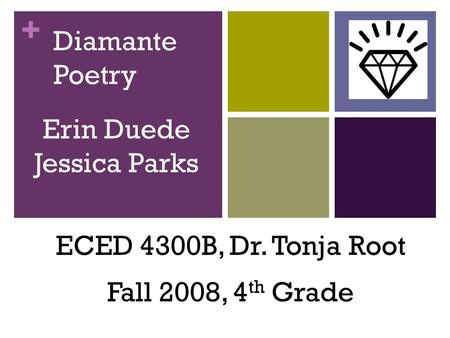 + Diamante Poetry ECED 4300B, Dr. Tonja Root Fall 2008, 4 th Grade Erin Duede Jessica Parks.
