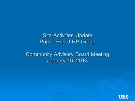 Site Activities Update Park – Euclid RP Group Community Advisory Board Meeting January 16, 2013.