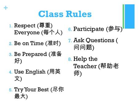 + Class Rules 1. Respect ( 尊重 ) Everyone ( 每个人 ) 2. Be on Time ( 准时 ) 3. Be Prepared ( 准备 好 ) 4. Use English ( 用英 文 ) 5. Try Your Best ( 尽你 最大 ) 6. Participate.