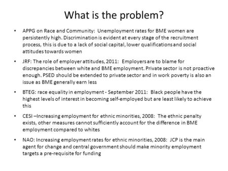 What is the problem? APPG on Race and Community: Unemployment rates for BME women are persistently high. Discrimination is evident at every stage of the.