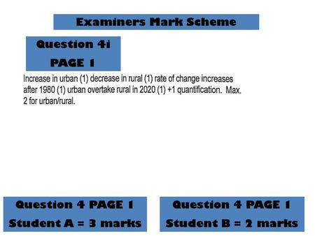 Examiners Mark Scheme Question 4 PAGE 1 Student A = 3 marks Question 4 PAGE 1 Student B = 2 marks Question 4i PAGE 1.