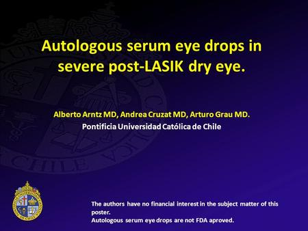 Autologous serum eye drops in severe post-LASIK dry eye.