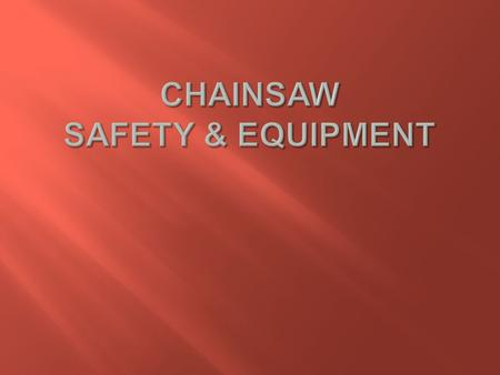  Disclaimer  Personal Background  Safety Equipment  Chainsaw Safety  Equipment  Maintenance.