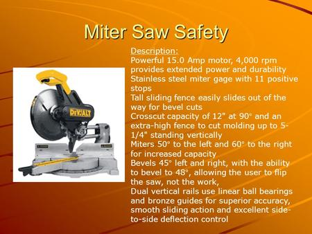 Miter Saw Safety Description: