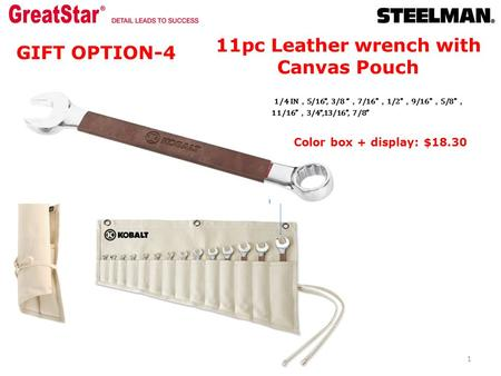 "11pc Leather wrench with Canvas Pouch 1/4 IN , 5/16"", 3/8 "" , 7/16 , 1/2 , 9/16 , 5/8 , 11/16 , 3/4"",13/16"", 7/8"" 1 GIFT OPTION-4 Color box + display:"