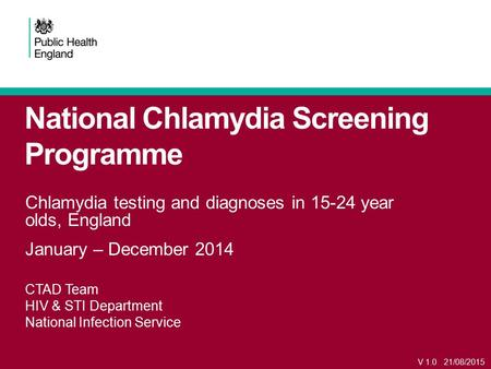 National Chlamydia Screening Programme Chlamydia testing and diagnoses in 15-24 year olds, England January – December 2014 CTAD Team HIV & STI Department.