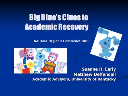 Big Blue's Clues to Academic Recovery NACADA Region 3 Conference 2006 Suanne H. Early Matthew Deffendall Academic Advisors, University of Kentucky.
