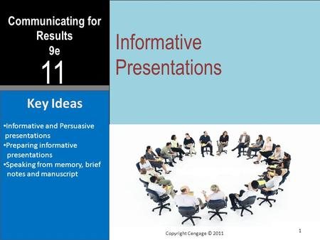 Communicating for Results 9e 11 Key Ideas Informative and Persuasive presentations Preparing informative presentations Speaking from memory, brief notes.