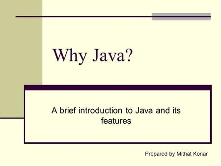 Why Java? A brief introduction to Java and its features Prepared by Mithat Konar.