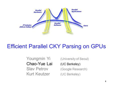 Parallel Applications Parallel Hardware Parallel Software IT industry (Silicon Valley) Users Efficient Parallel CKY Parsing on GPUs Youngmin Yi (University.
