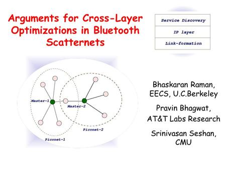 Arguments for Cross-Layer Optimizations in Bluetooth Scatternets Bhaskaran Raman, EECS, U.C.Berkeley Pravin Bhagwat, AT&T Labs Research Srinivasan Seshan,
