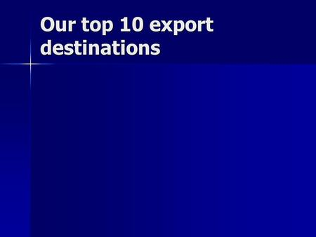 Our top 10 export destinations. Canada Canada Our top 10 export destinations Canada Canada Mexico Mexico.