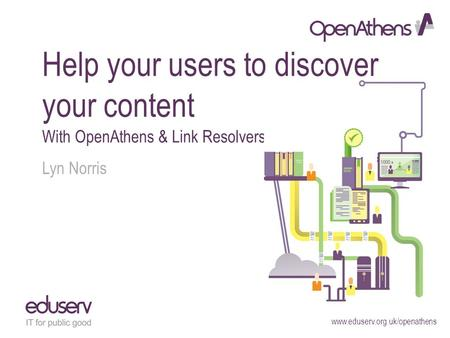 Www.eduserv.org.uk/openathens Help your users to discover your content With OpenAthens & Link Resolvers Lyn Norris.
