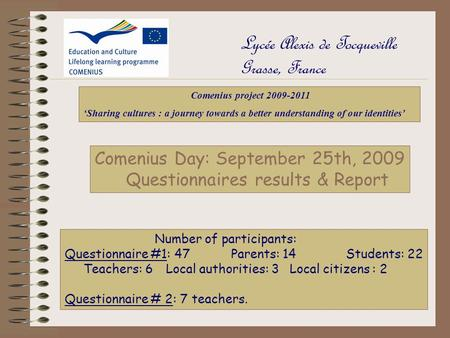 Lycée Alexis de Tocqueville Grasse, France Comenius Day: September 25th, 2009 Questionnaires results & Report Comenius project 2009-2011 'Sharing cultures.