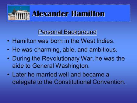 Alexander Hamilton Personal Background