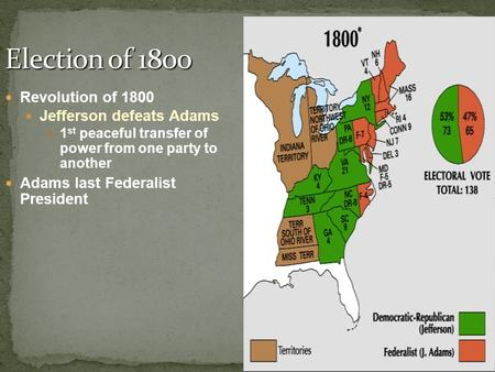 Revolution of 1800 Jefferson defeats Adams 1 st peaceful transfer of power from one party to another Adams last Federalist President.