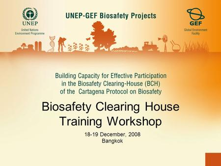 Biosafety Clearing House Training Workshop 18-19 December, 2008 Bangkok.