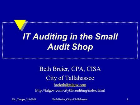 IIA_Tampa_2-3-2004Beth Breier, City of Tallahassee1 IT Auditing in the Small Audit Shop Beth Breier, CPA, CISA City of Tallahassee